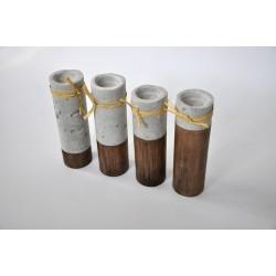 Świeczniki - cement podparty ciemnym drewnem - zestaw- OLDTREE