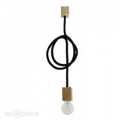 Lampa SingleRope -Lina Bawełniana- Czarna - Modrzew B