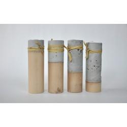 Świeczniki - cement podparty jasnym drewnem - zestaw- OLDTREE
