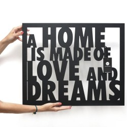 Napis na ścianę 3D A HOME IS MADE OF LOVE AND DREAMS DekoSign